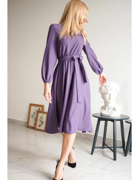 Midi kuşaklı elbise byz-k20013
